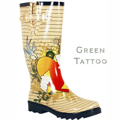 Chooka Women's Green Tattoo Rain Boots