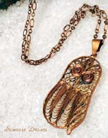 Copper Owl Necklace and Chain