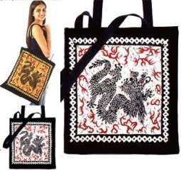 Dragon Print Shoulder Bags in 100% Cotton